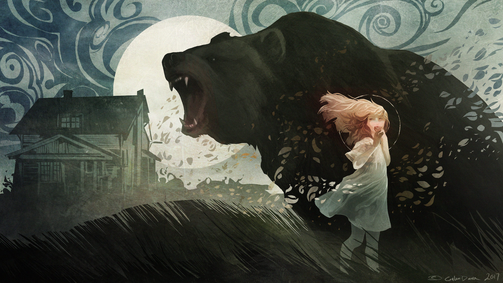 A young girl stands in front of a roaring bear. In the background is a slightly run down house and the moon, looming large above everything.