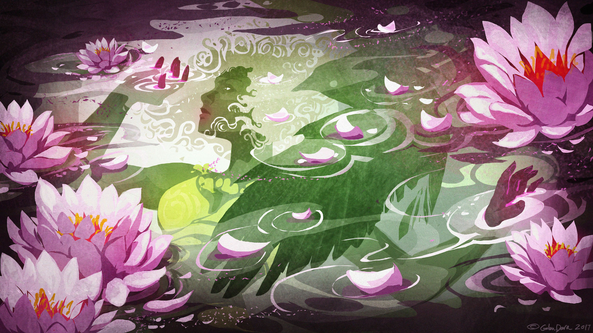 A teen girl floats beneath the surface of the water, surrounded by floating pink water lilies and overshadowed by the silhouette of a crow.