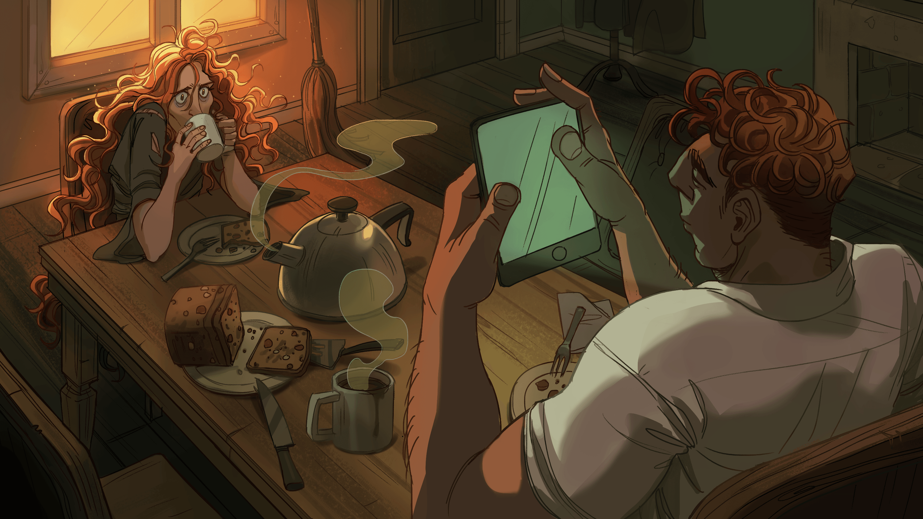 A frazzled woman sits at a table, sipping from a cup of tea. She looks sleep-deprived. A gigantic man sits across from her, idly looking at his tablet.