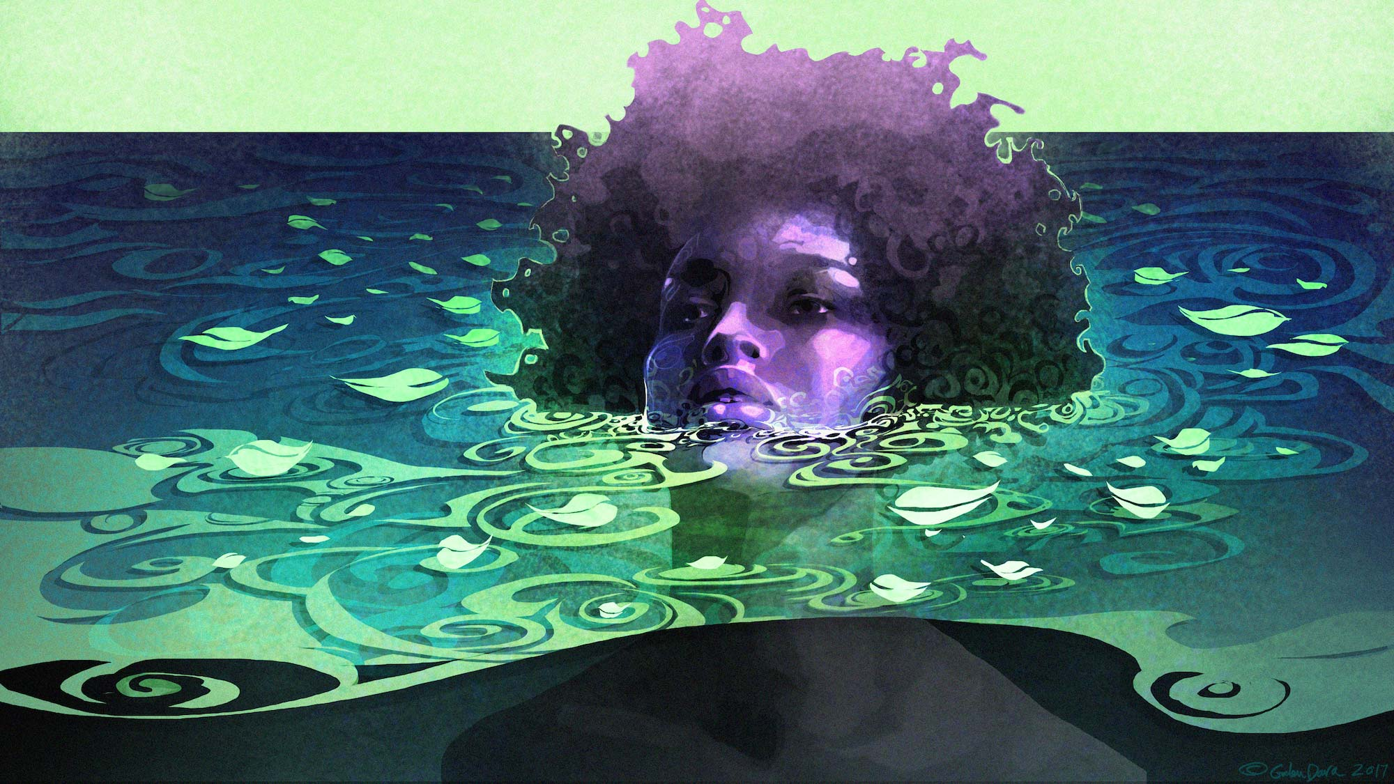 A young person with an afro is sitting in water up to their chin.