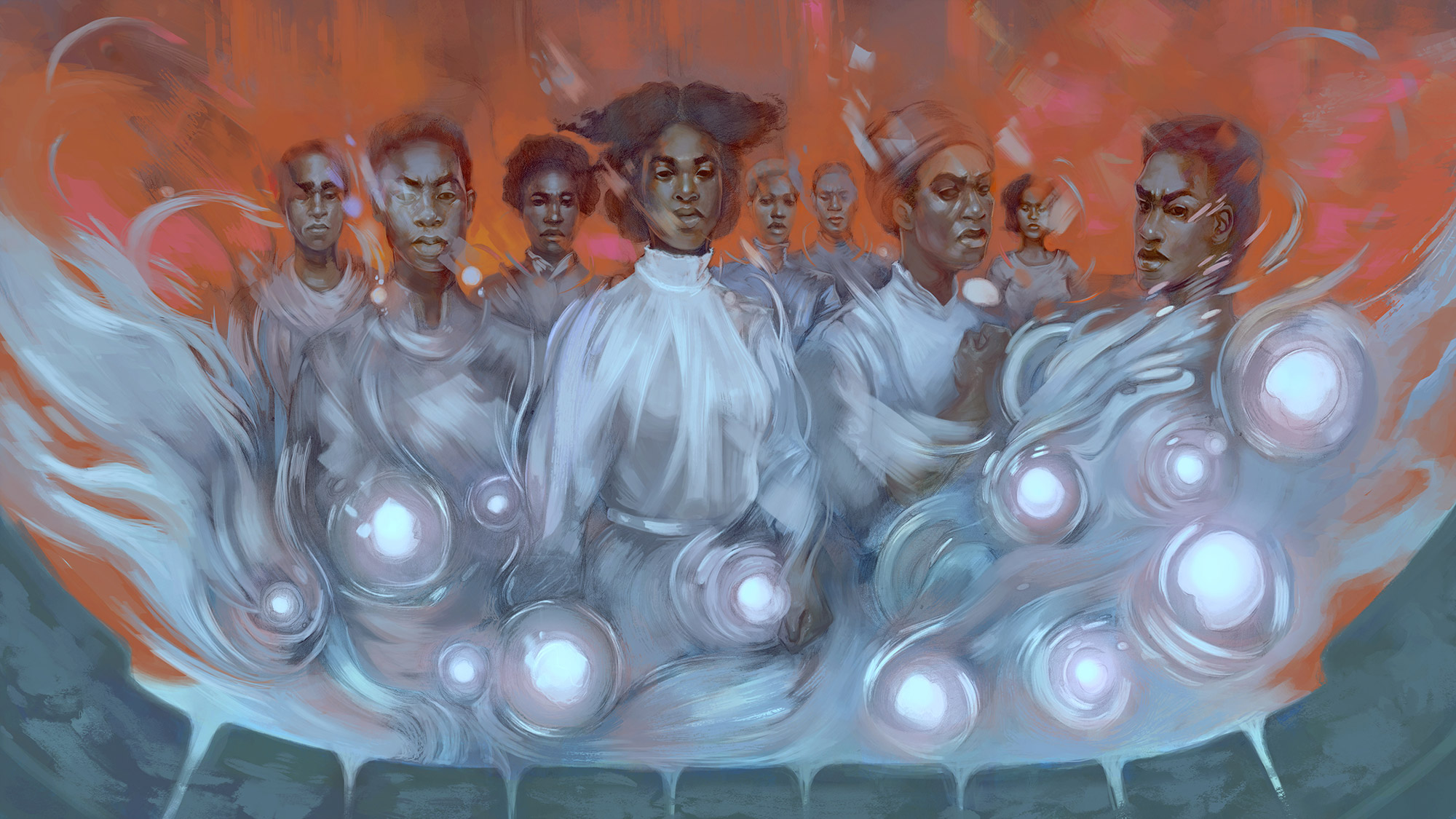 Nine ethereal Black people stand in defiance, surrounded by creepy dentures and luminous orbs.